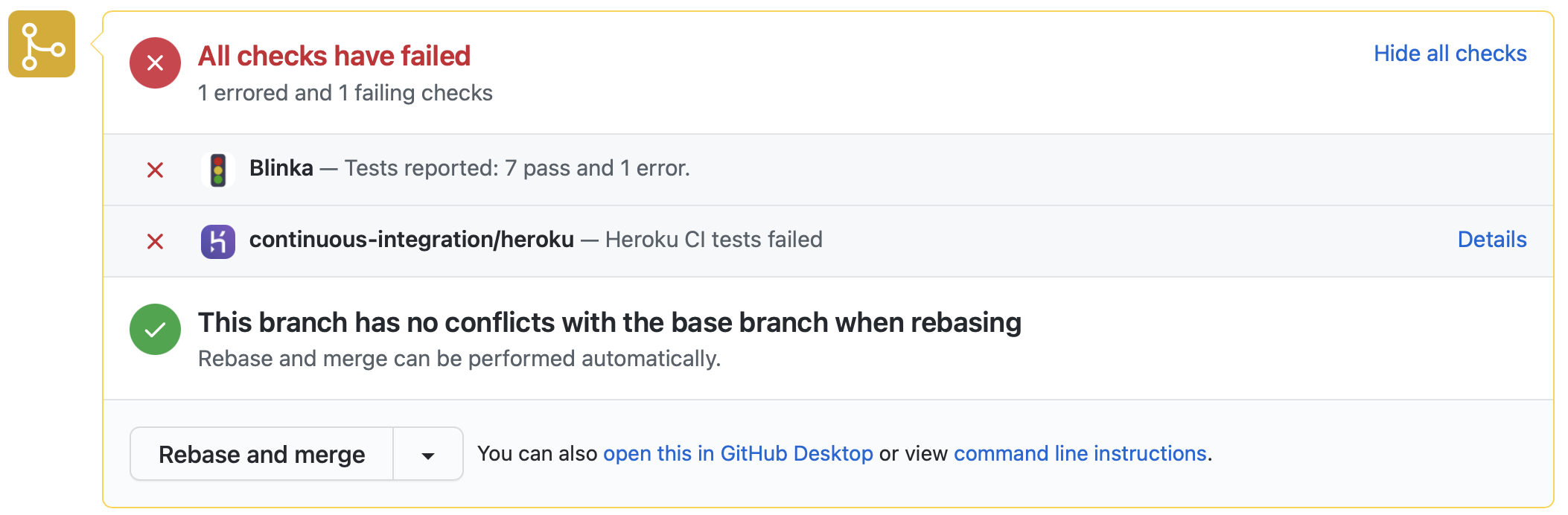 Blinka reports number of tests passed, failed or skipped as a Github Status.