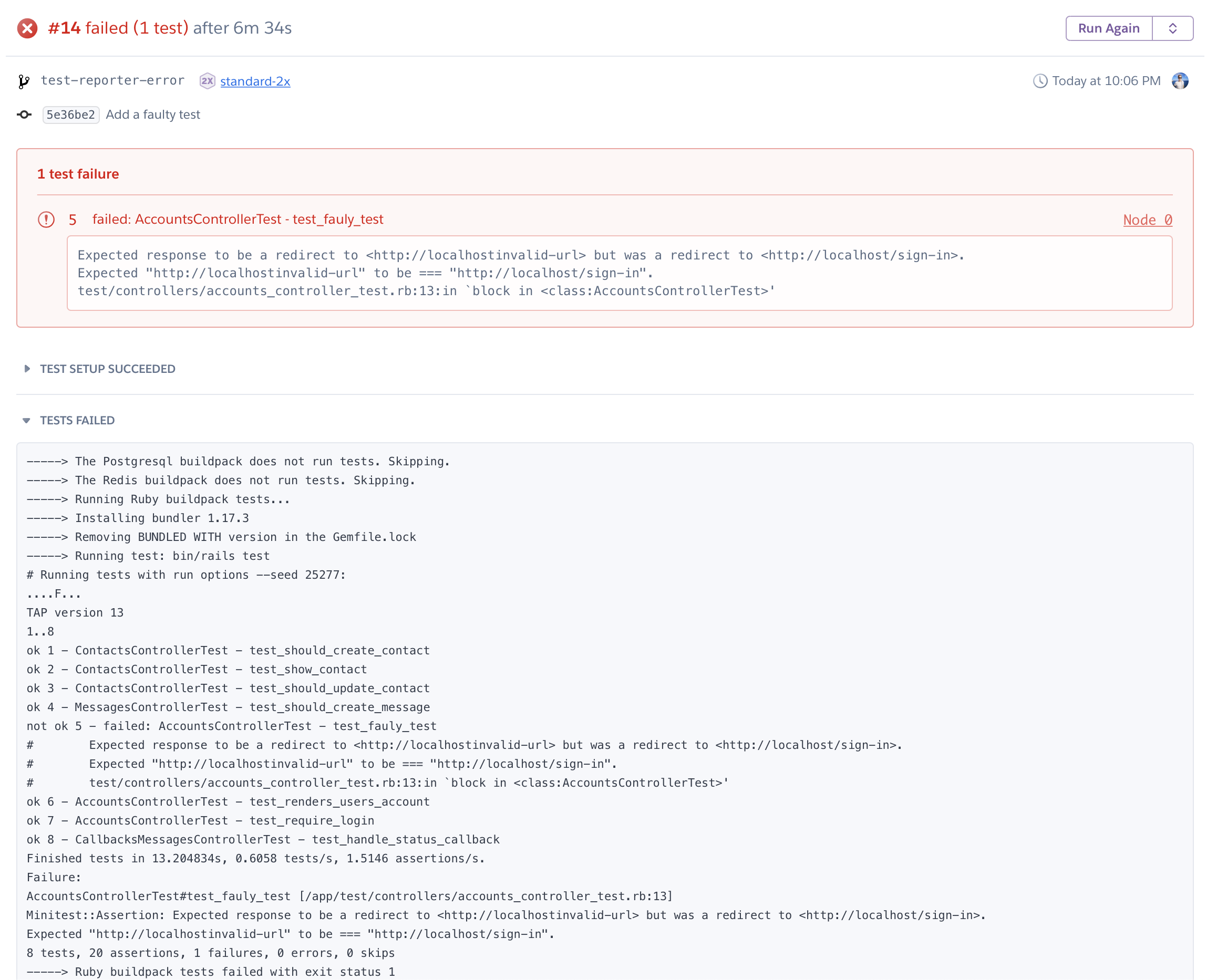 A failing test on Heroku