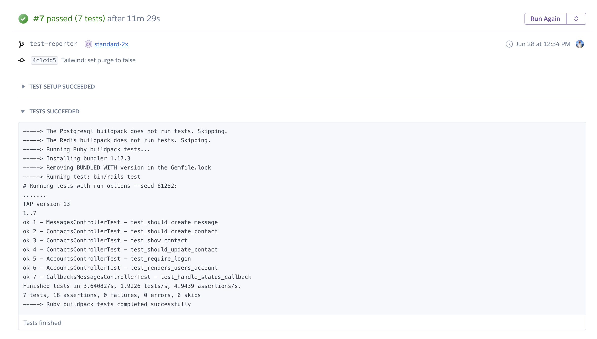 Successful tests on Heroku