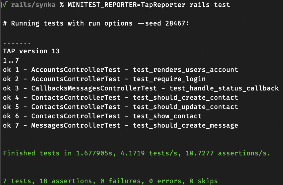 Output of test results with TAP-formatting